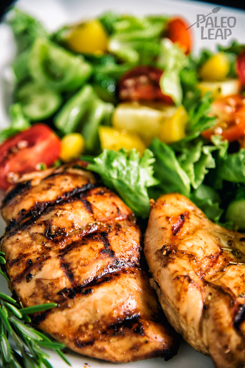 Balsamic Grilled Chicken With Greek Style Salad Paleo Leap