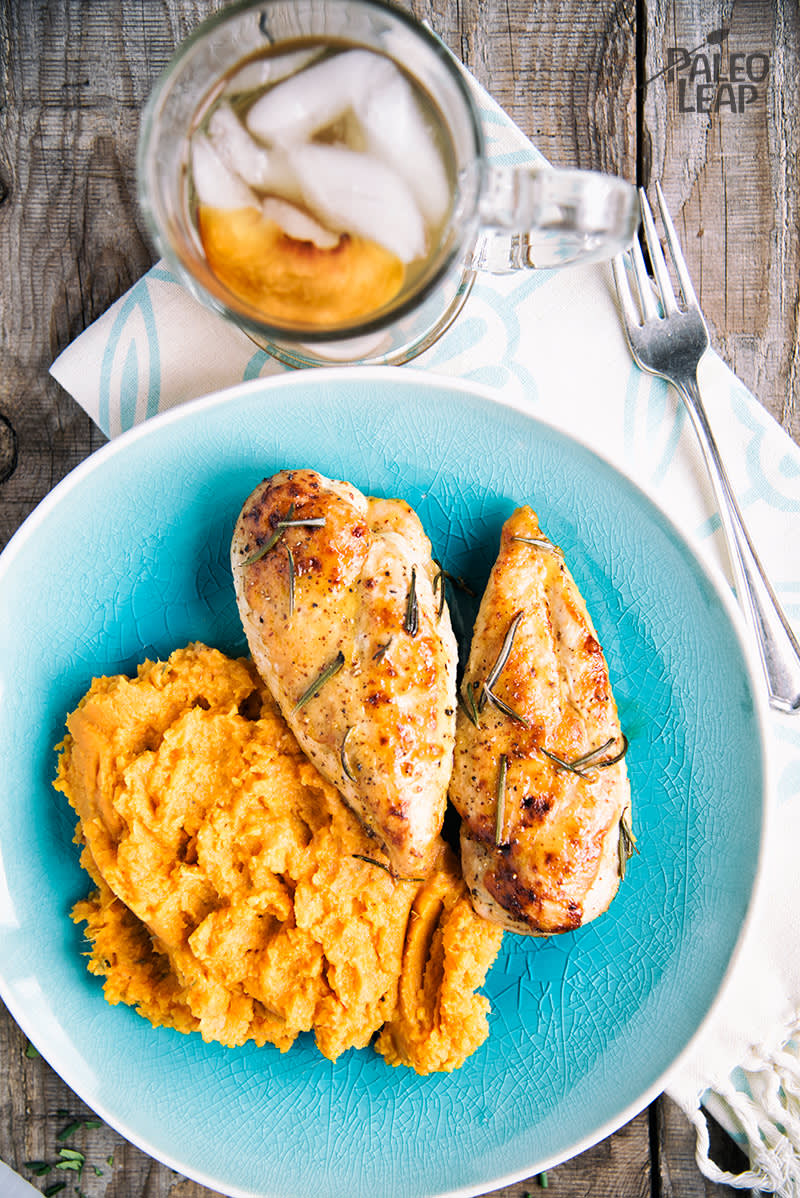 Baked Mustard Chicken With Mashed Sweet Potatoes