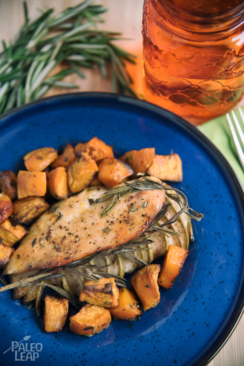 Apple-Stuffed Chicken With Sweet Potatoes