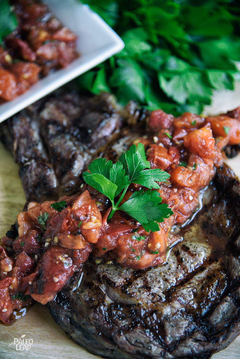 Grilled Steak With Tomato-Basil Salsa | Paleo Leap