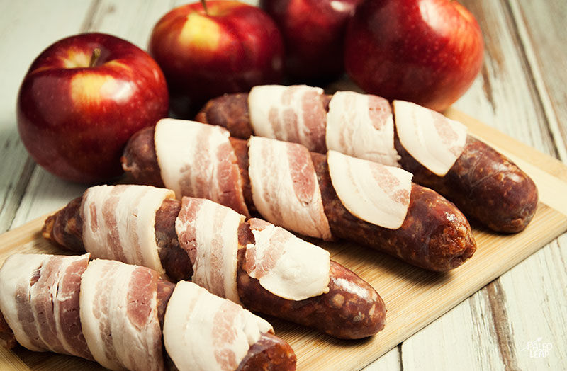 Bacon-wrapped sausage preparation