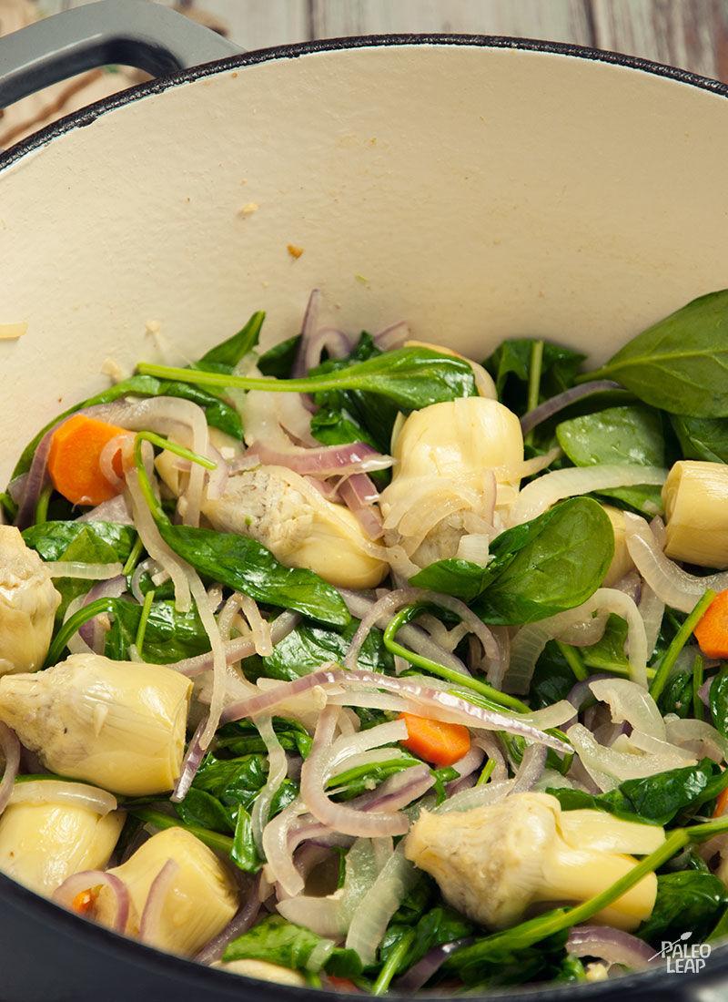 Chicken and spinach preparation
