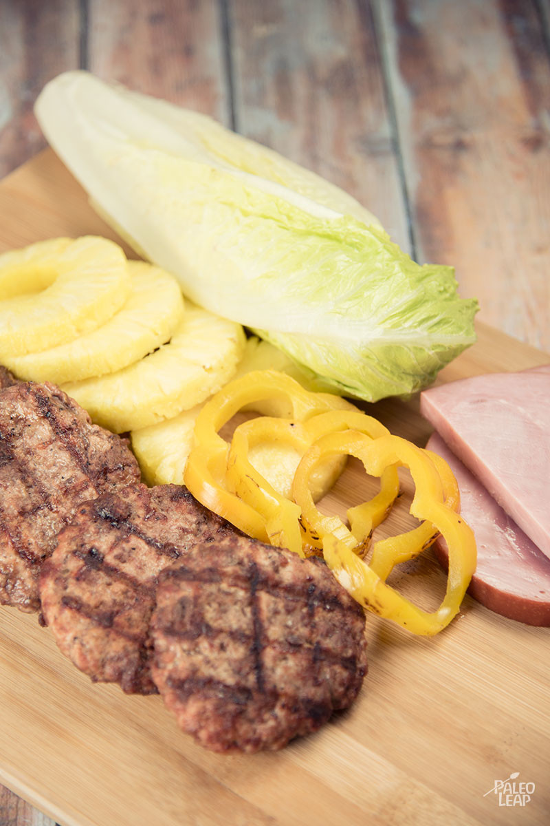 Hawaiian Style Burger preparation
