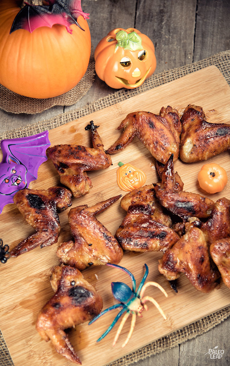 spicy bat wings would make a great addition to a halloween feast blueberry jam might sound like a pretty strange ingredient to put on chicken wings