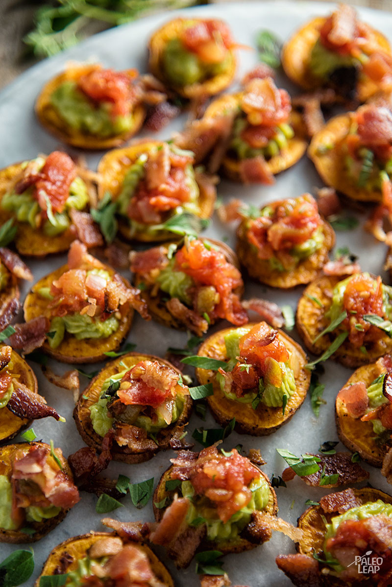 Sweet Potato Bites With Guacamole And Bacon
