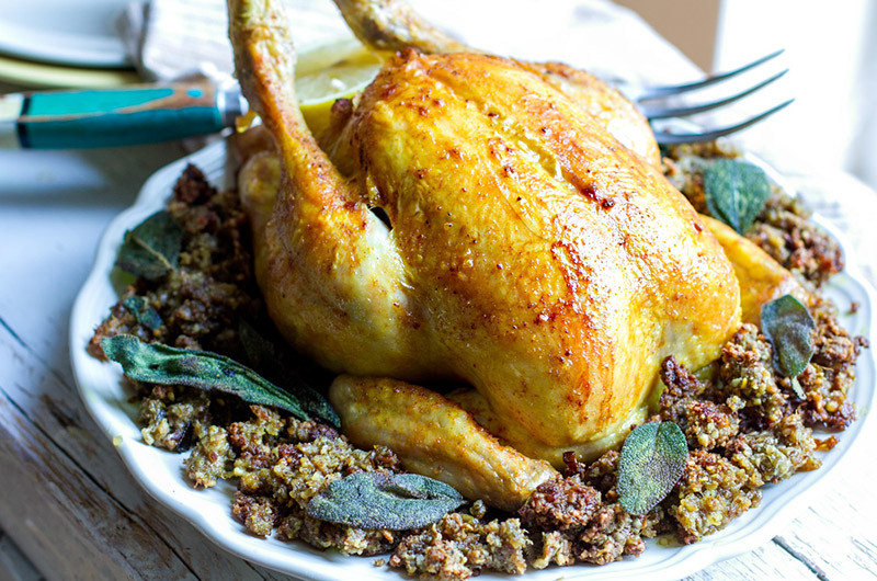 Roast Chicken with Inside-Out Stuffing