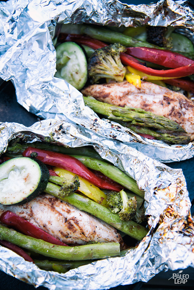 Chicken And Vegetables Grilled In Foil Packet