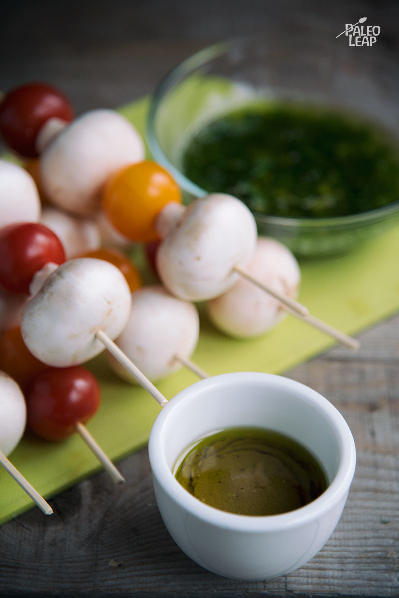 Tomato and Mushroom skewers preparation