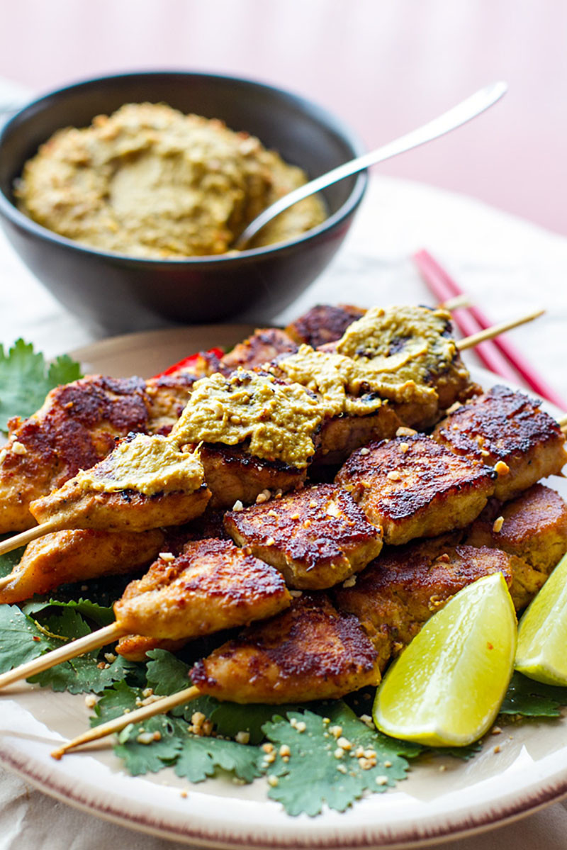 Paleo Satay Chicken Skewers