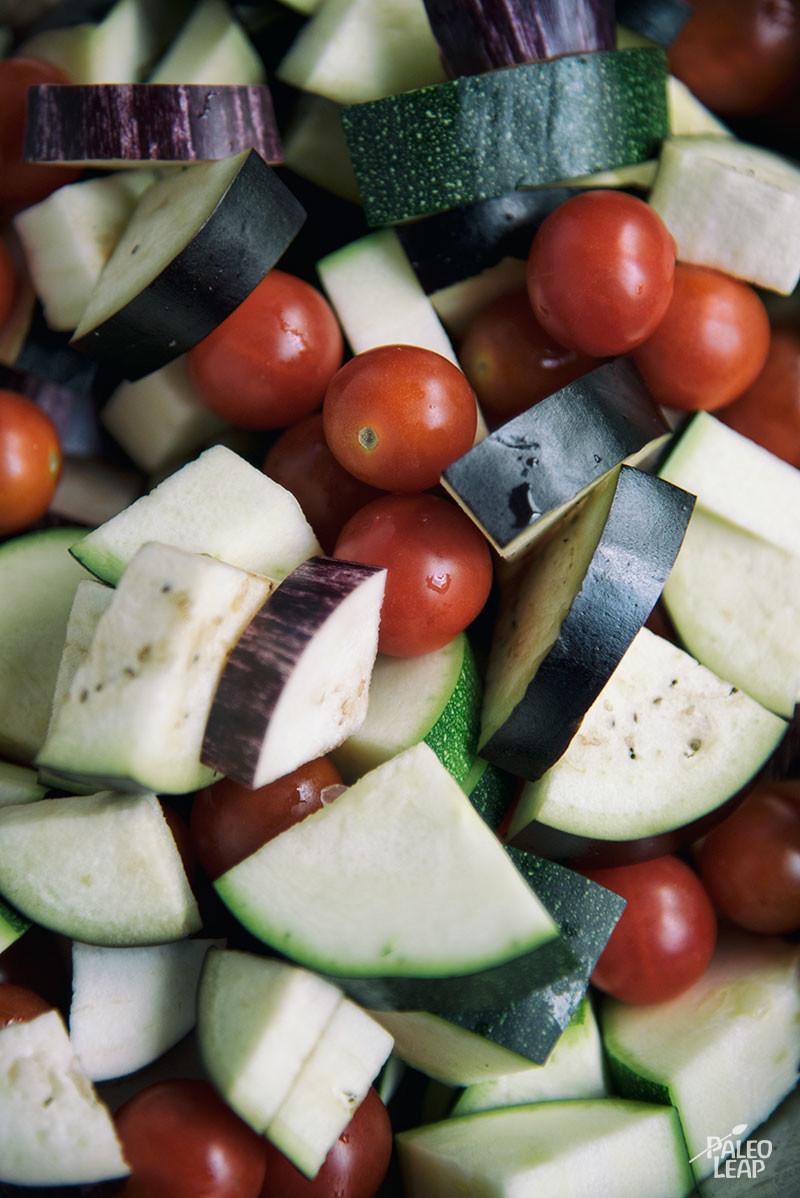 Eggplant, Zucchini And Tomato preparation