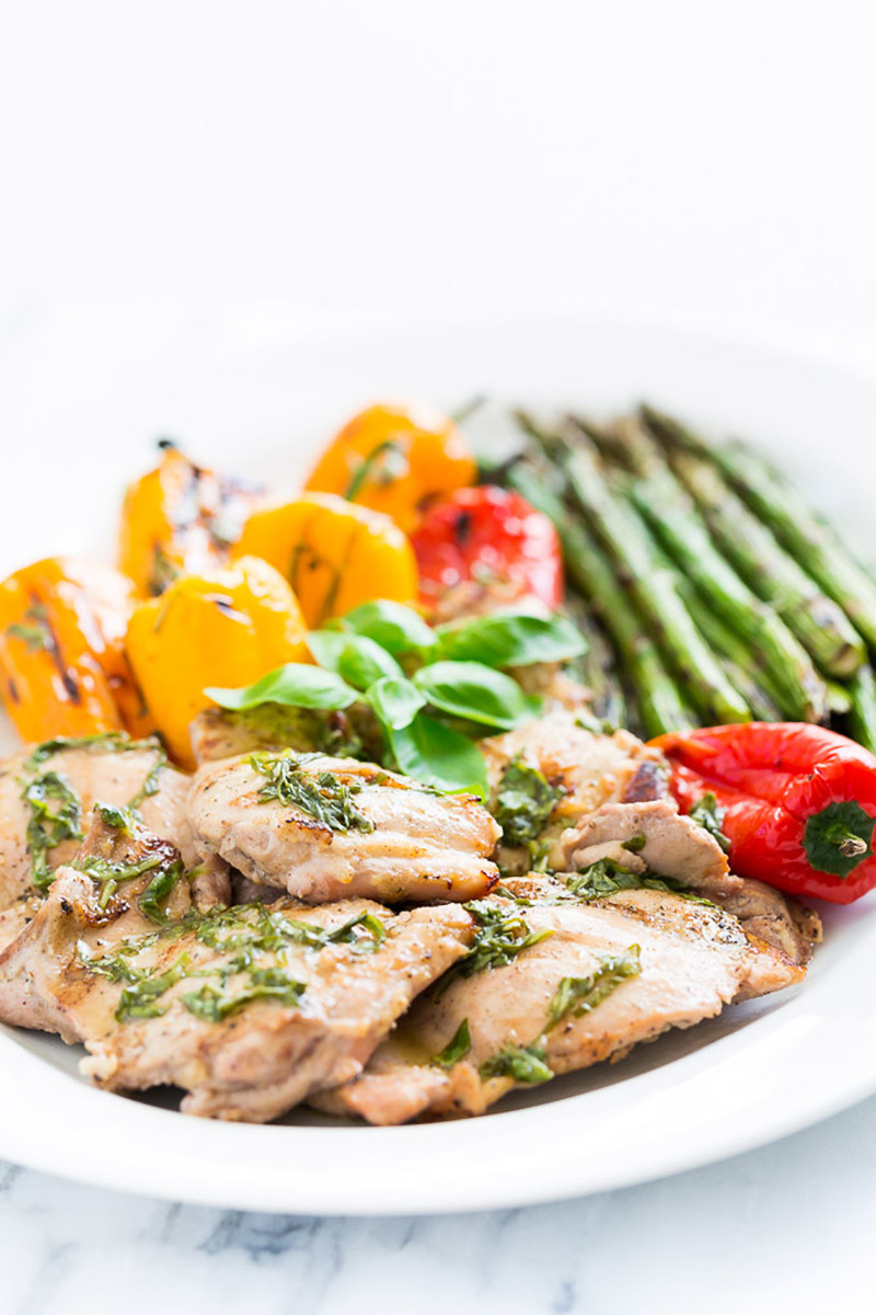 Lemon Basil Grilled Chicken and Veggie Platter