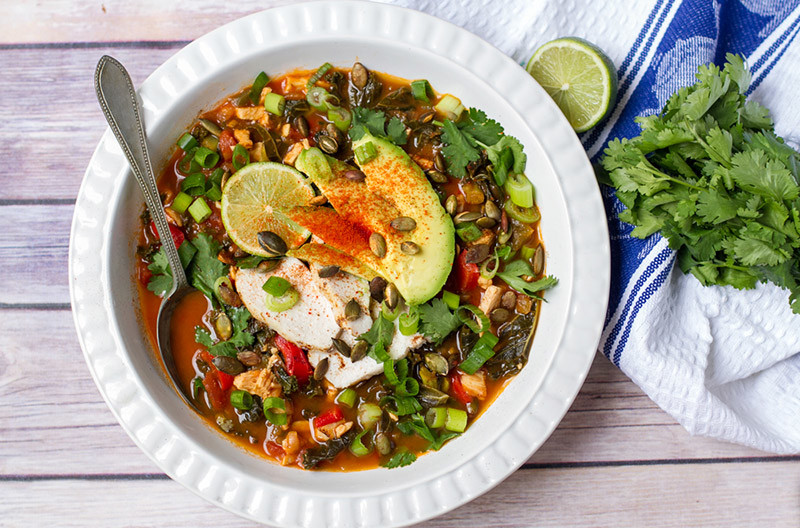 Quick Paleo Chicken & Kale Tortilla Soup