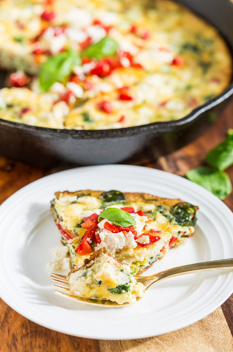 Roasted Red Pepper Frittata with Feta and Spinach