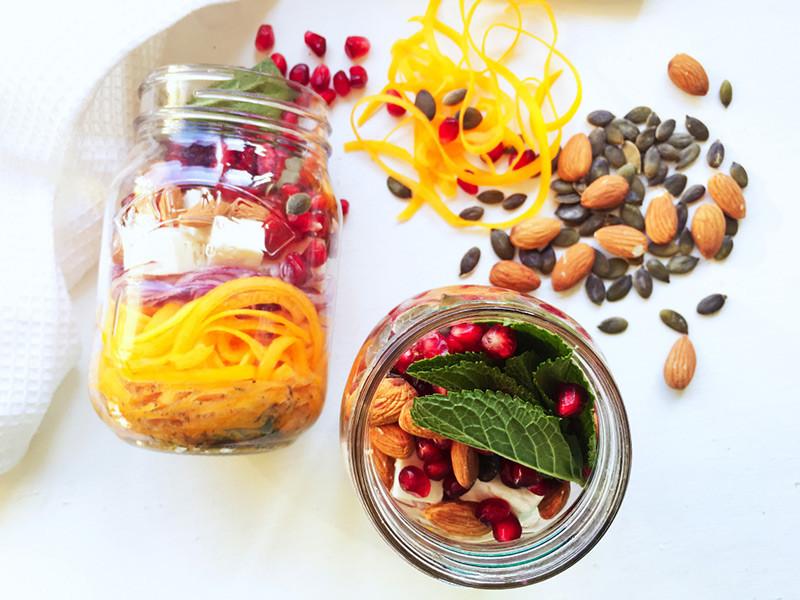 Butternut Squash, Pomegranate, and Feta Mason Jar Salad