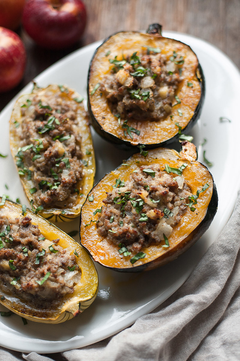 Stuffed Squash with Sausage and Apple