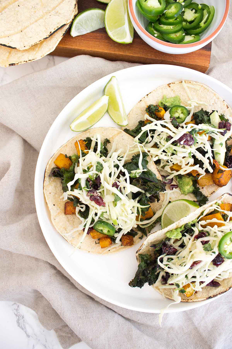 Butternut Kale Tacos with Cranberry Apple Slaw