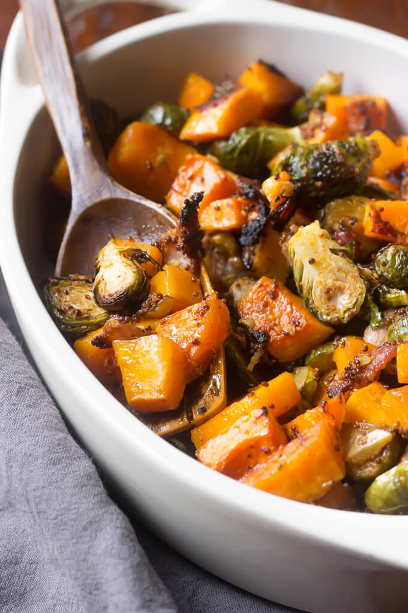 Maple roasted butternut squash with brussels sprouts and bacon