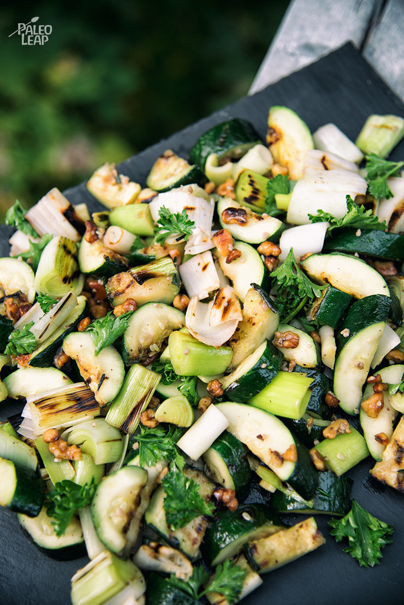 Grilled Zucchini And Leeks With Herb Dressing
