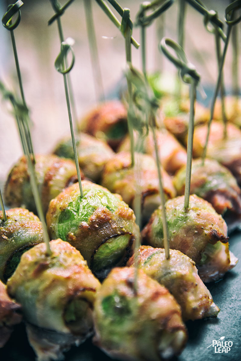 Bacon-Wrapped Brussels Sprouts With Mustard Sauce