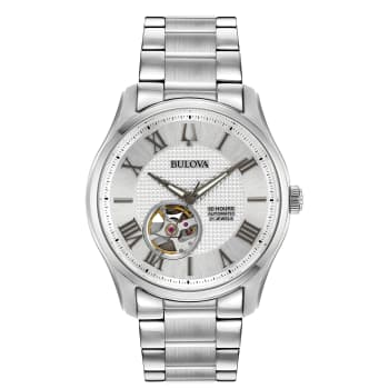 Bulova Wilton Mens White Dial Sapphire Crystal Steel Watch