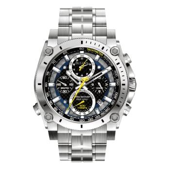 Bulova Precisionist Mens Black Dial Stainless Steel Watch