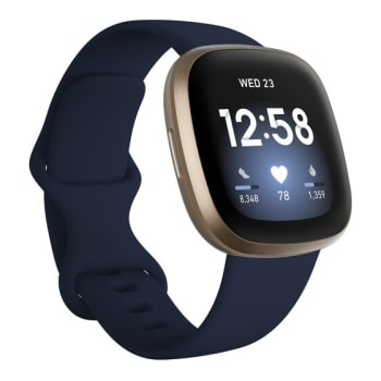 Fitbit Versa 3 Smartwatch - Midnight/Soft Gold Aluminum