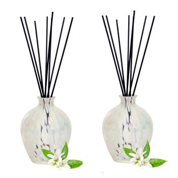 T-Zone™ Health Art Glass Reed Diffuser with 200 ml Scent - White Glass with Orange Blossom Scent - Set of 2
