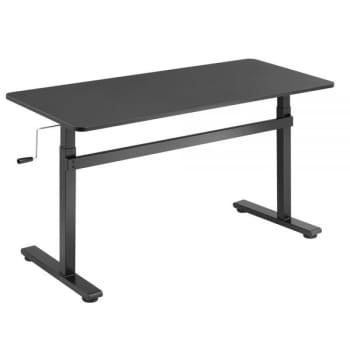 Boost Industries Floor Standing Manual Crank Height Adjustable Office Desk – Black