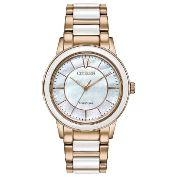 Citizen Chandler Ladies Eco-Drive White Dial Ceramic Watch