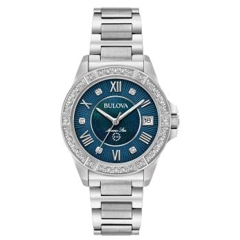 Bulova Marine Star Ladies Diamond Blue Dial Stainless Steel Watch