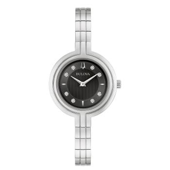 Bulova Rhapsody Ladies Silver Black Dial Diamond Watch