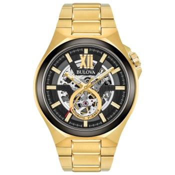 Bulova Maquina Men's Gold Black Automatic Classic Watch