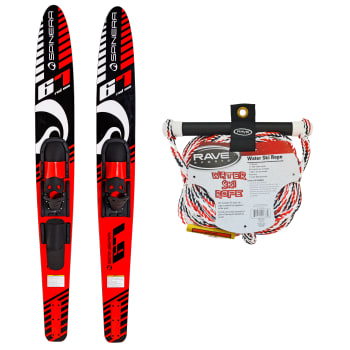 Spinera Adult Combo Ski - Red with Rave Sports Water Ski Rope