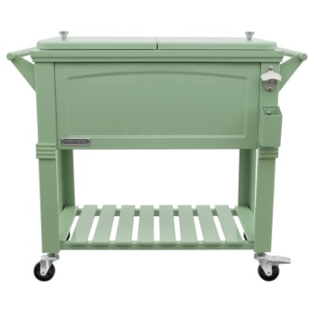 Permasteel 80-Quart Antique Furniture Style Rolling Patio Cooler - Sage