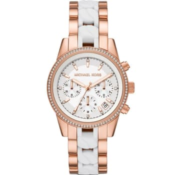 Michael Kors Ritz Rose Gold-Tone and Acetate Curb Link Watch