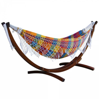 Vivere 10 Ft Authentic Brazilian Hammock with Solid Pine Arc Stand - Carnival