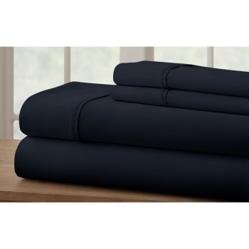 Cuddle Down 100% Percale Deluxe Cotton 220TC 4-Piece Sheet Set - Marine Blue - King