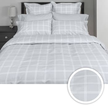 Cuddle Down Cross Roads 3-Piece 200TC Portugese Cotton Deluxe Sateen Duvet Cover Set - Mineral Grey - King