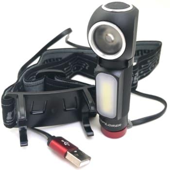 Genesis Explorer Pocket Size Rechargeable Flashlight with Headband Adapter - 500 Lumens