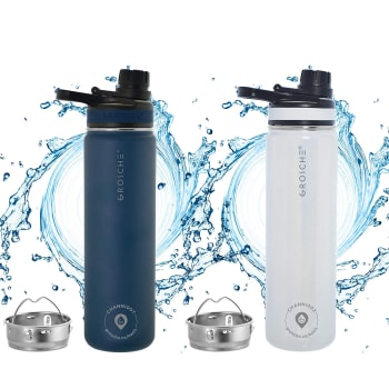 Grosche® 2-Pack Oasis Fruit Infusion Water Flasks - Mountain Blue & Pearl