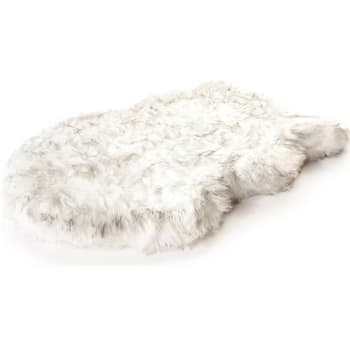 Paw Canada PupRug™ Faux Fur Orthopedic Dog Bed - Curve White - Small/Medium