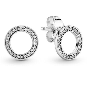 Pandora Sparkling Circle Stud Earrings - Silver