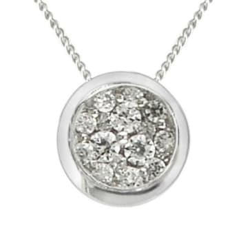 "Karing 10k White Gold Diamond Pendant with 18"" Chain"