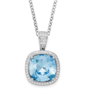 Karing Sterling Silver Cubic Zirconia and Blue Swarovski Crystal Pendant Necklace