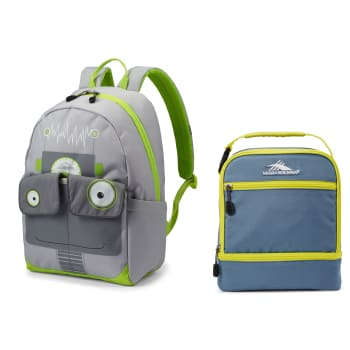 High Sierra Chiqui Backpack (Robot) and Stacked Compartment Lunch Bag (Graphite Blue/Glow)