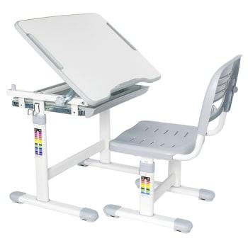 Boost Industries KidzDesk Ergonomic Height Adjustable Children Desk and Chair Set - Grey