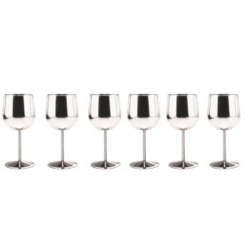 Danesco 10 oz Stainless Steel Wine Goblet – Set of 6