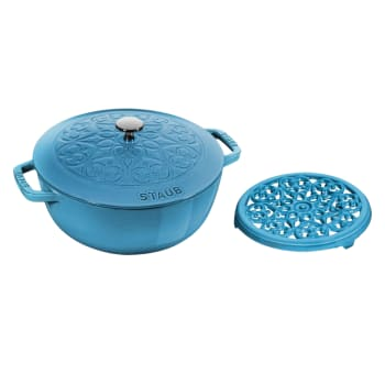 Staub Cast Iron Lily Decal 3.75-Quart Cocotte with Trivet – Ice Blue