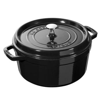 Staub Cast Iron 5.5-Quart Round Cocotte - Shiny Black