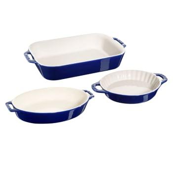 Staub Ceramique 3-Piece Ovenware Set – Dark Blue